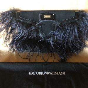 Emporior Armani Black Suede/Ostrich Feather Clutch